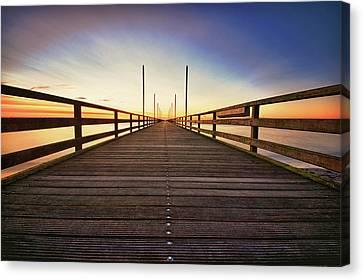 Wooden Bridge At Baltic Sea Canvas Print by Siegfried Haasch