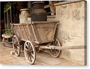 Pioneer Museum Canvas Print - Wooden Cart by Tom Gowanlock