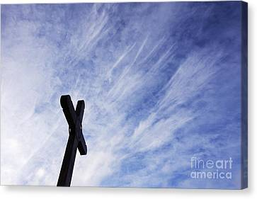 Wooden Cross Canvas Print by Jeremy Woodhouse