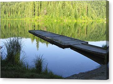 Canvas Print featuring the digital art Wooden Dock On Lake by Anne Mott