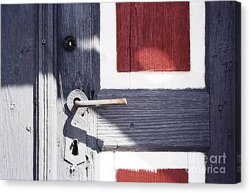Canvas Print featuring the photograph Wooden Doors With Handle In Blue by Agnieszka Kubica