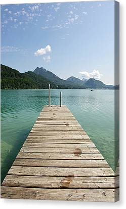 Wooden Jetty Out To Lake Fuschl Canvas Print by Buero Monaco
