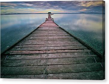 Clouds Over Sea Canvas Print - Wooden Pier by Landscape Artist