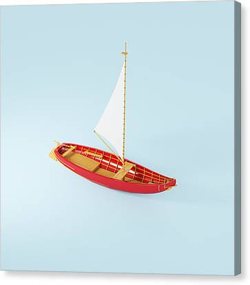 Wooden Toy Sailing Boat Canvas Print by Jon Boyes