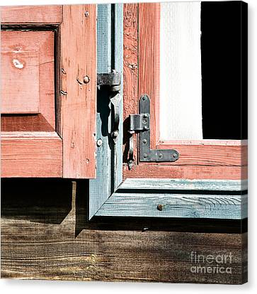 Canvas Print featuring the photograph Wooden Windows Shutters In Coral by Agnieszka Kubica