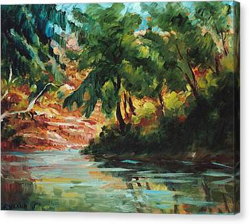 Woodland Stream Canvas Print by Ethel Vrana