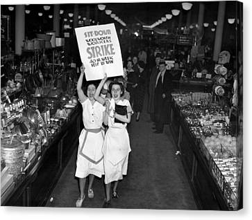 Woolworth Workers Go On Strike In New Canvas Print by Everett