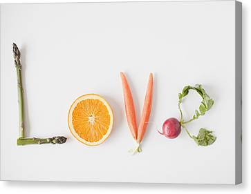 Y120907 Canvas Print - Word 'love' Made Out Of Fruits And Vegetables, Studio Shot by Jessica Peterson