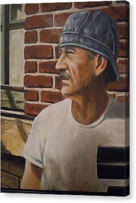 Canvas Print featuring the painting Worker At Union Switch And Signal by James Guentner