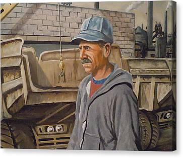 Canvas Print featuring the painting Worker At U.s.s.mill Station 108 by James Guentner