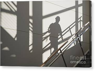 Workers Shadow In A Stairwell Canvas Print by Andersen Ross