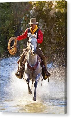 Impasto Horses Canvas Print - Working Man by Janet Fikar