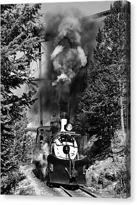 Working Up The Loop Black And White Canvas Print by Ken Smith