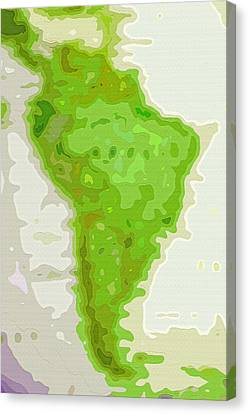 World Map - South America - Abstract Canvas Print by Steve Ohlsen