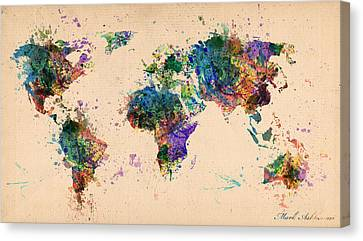 World Map 2 Canvas Print by Mark Ashkenazi