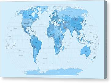 World Map Blues Canvas Print by Michael Tompsett