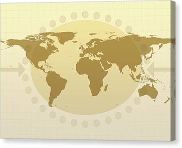 World Map Canvas Print by Flatliner