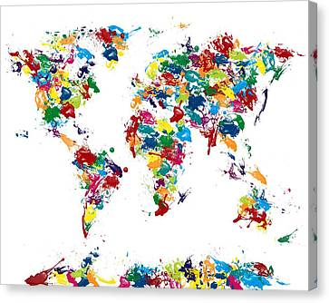 World Map Glossy Paint 16 X 20 Canvas Print by Michael Tompsett