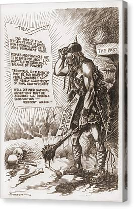 World War 1 Cartoon Of A Barbaric Canvas Print
