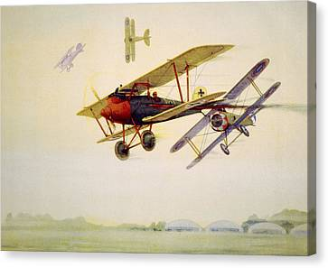 World War I Air Battle In Which Canvas Print by Everett
