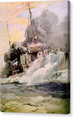 World War I, American Destoyer Laying Canvas Print by Everett