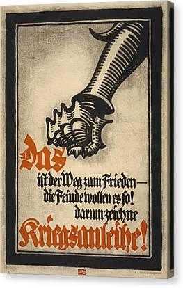 World War I, German Poster Depicting Canvas Print by Everett