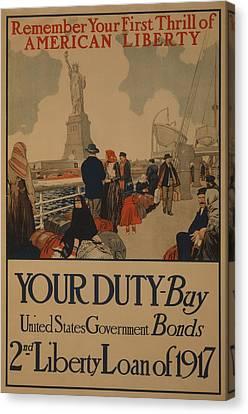 World War I Poster Aimed At Recent Canvas Print by Everett