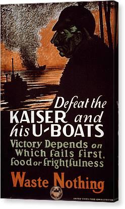 World War I, Poster Showing A Dark Canvas Print by Everett