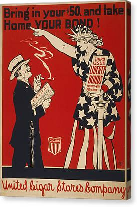 World War I, Poster Showing Liberty Canvas Print by Everett