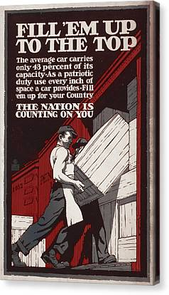 World War I, Poster Showing Men Loading Canvas Print by Everett