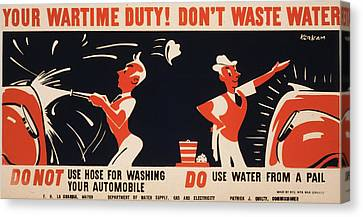 World War II, Poster For A New York Canvas Print by Everett