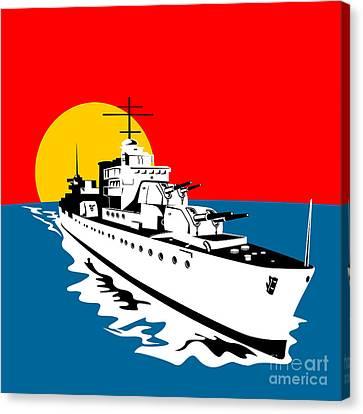 World War Two Battleship Warship Cruiser Retro Canvas Print