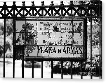 Worn Historic Plaza De Armas Tile Plaque New Orleans Black And White Canvas Print by Shawn O'Brien