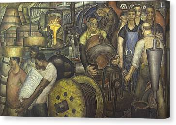 Wpa Mural. New Deal By Charles Wells Canvas Print