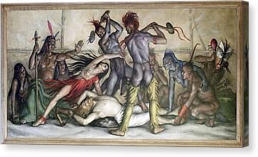 Wpa Mural. Pocahontas Saving The Life Canvas Print