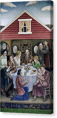 Wpa Mural. Society Freed Through Canvas Print by Everett