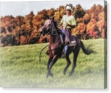 Wrangler And Horse Canvas Print by Susan Candelario