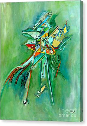 Contemporary Green Colorful Plane Abstract Composition Canvas Print by Marie Christine Belkadi
