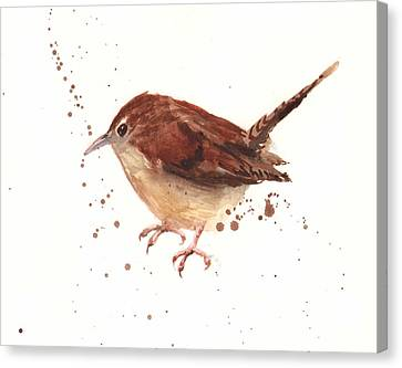 Wren Watercolor Canvas Print by Alison Fennell
