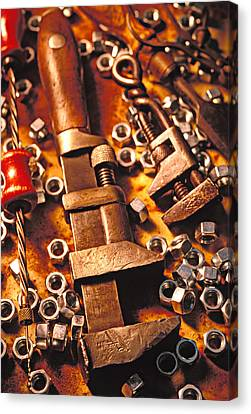 Wrench Tools And Nuts Canvas Print by Garry Gay
