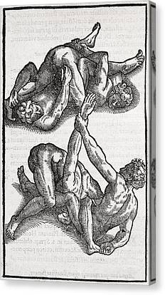 Wrestling Moves, 16th Century Artwork Canvas Print by Middle Temple Library