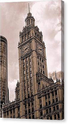 Canvas Print featuring the photograph Wrigley Clock Tower by Linda Edgecomb