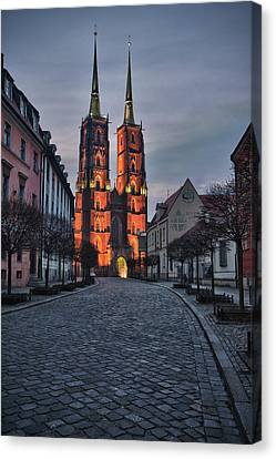 Early Morning Canvas Print - Wroclaw Cathedral by Sebastian Musial