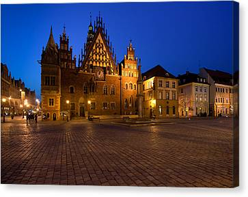 Wroclaw Town Hall At Night Canvas Print by Sebastian Musial