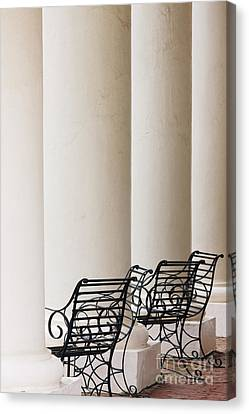 Wrought Iron Chairs And Columns Canvas Print by Jeremy Woodhouse