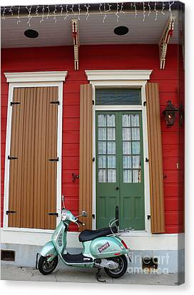 Canvas Print featuring the photograph Wwoz Vespa by Jeanne  Woods