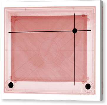 X-ray Of Etch A Sketch Canvas Print by Ted Kinsman