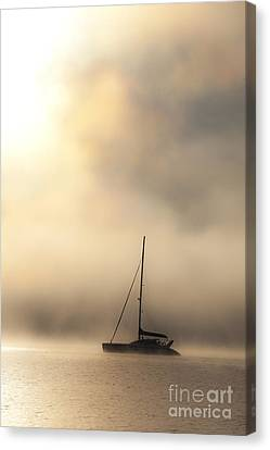 Yacht In Mist Canvas Print by Avalon Fine Art Photography