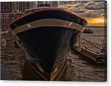 Yacht On The Sunset Canvas Print by Alex AG