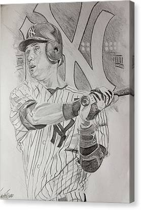 Yankee Pride Derek Jeter  Canvas Print by Keith Evans